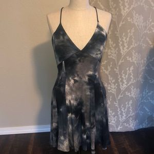 Tie Dye Halter Open Back Summer Dress